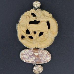 Vintage Amy Kahn Russell Pin/Pendant AKR silver
